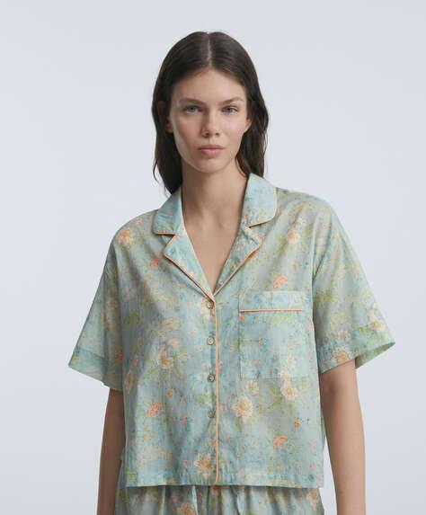 Print 100% cotton short shirt with trim
