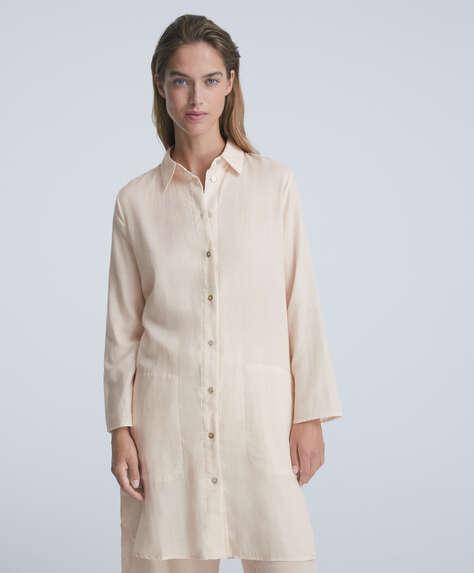 Double-face 100% cotton long shirt