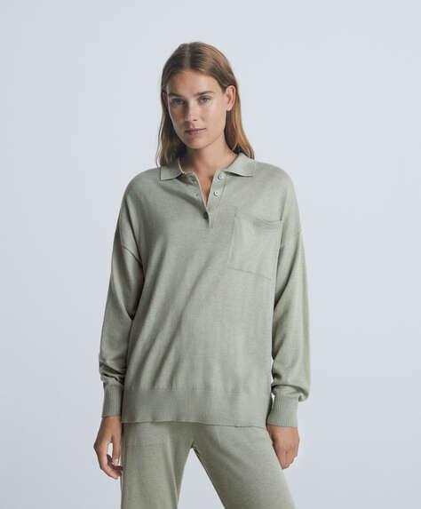 Fine-knit long-sleeved polo shirt