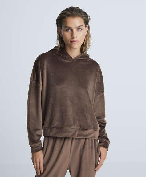 Soft touch velour crop sweatshirt
