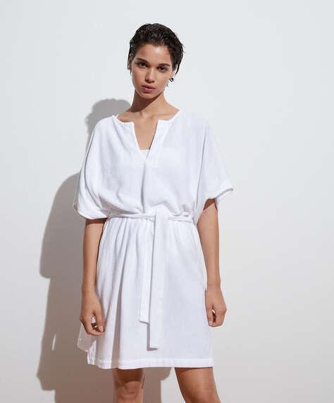 Short-sleeved cotton towelling kaftan