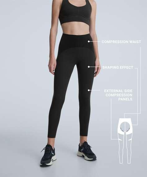 Velvet compressive raise up ankle-length leggings