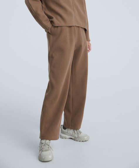 Straight leg plush trousers
