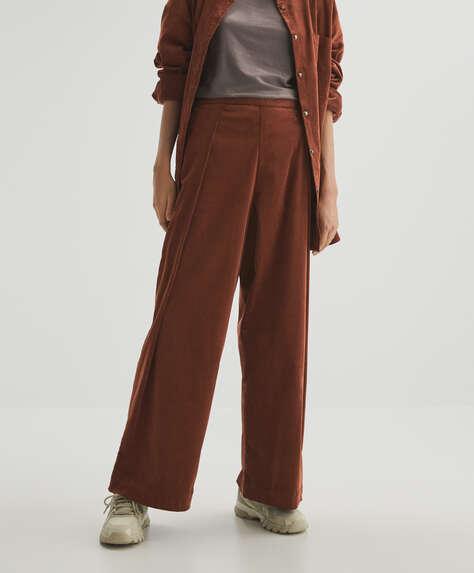 Micro-cord wide leg trousers
