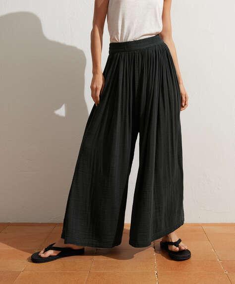 Cotton chiffon trousers