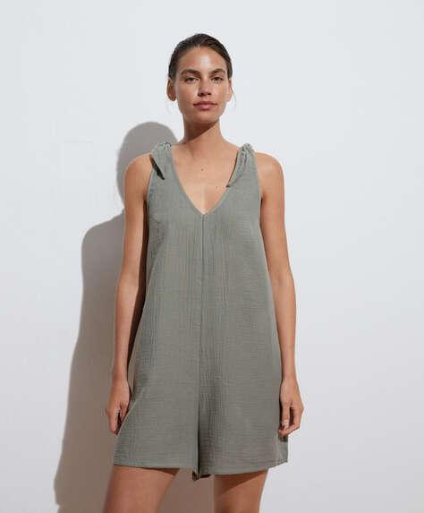 Knotted short 100% cotton jumpsuit