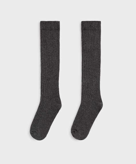 Chaussettes hautes en coton côtelé