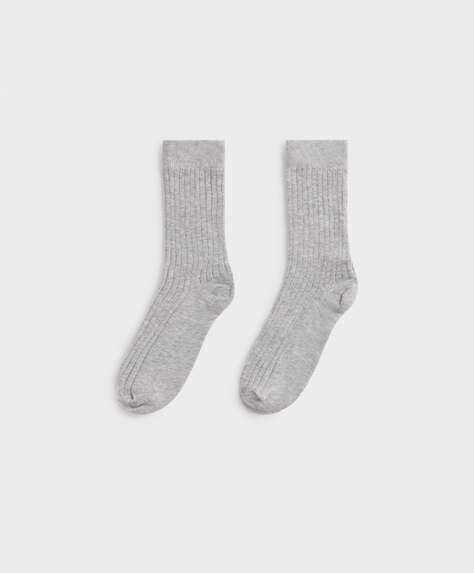 Chaussettes mi-hautes en coton côtelé