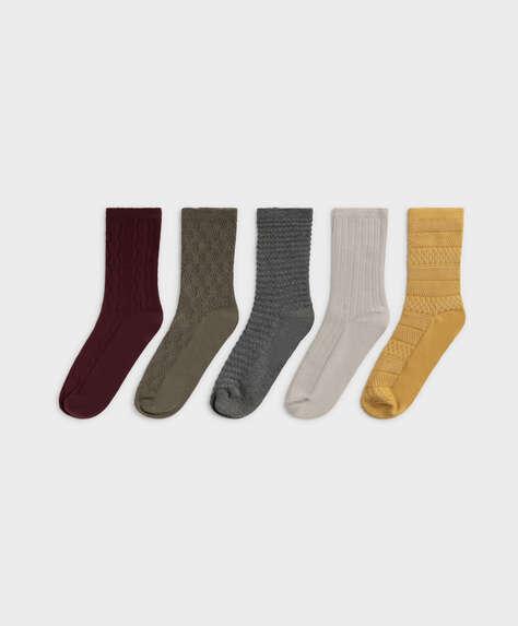 5 paia di calzini medi cotone