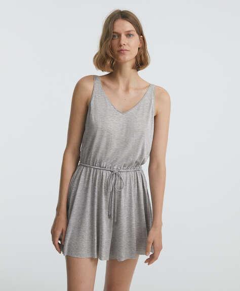 Tencel® short strappy jumpsuit