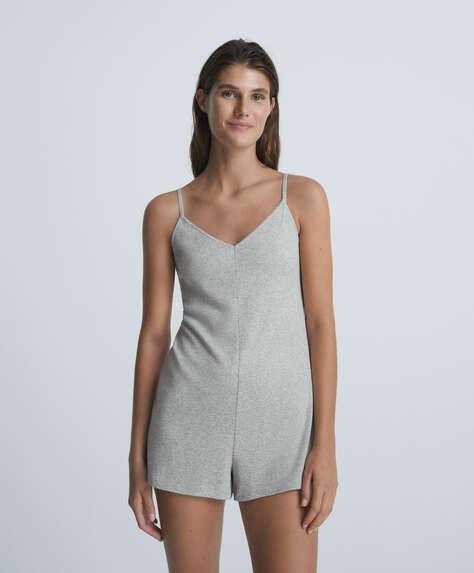Rib cotton short jumpsuit