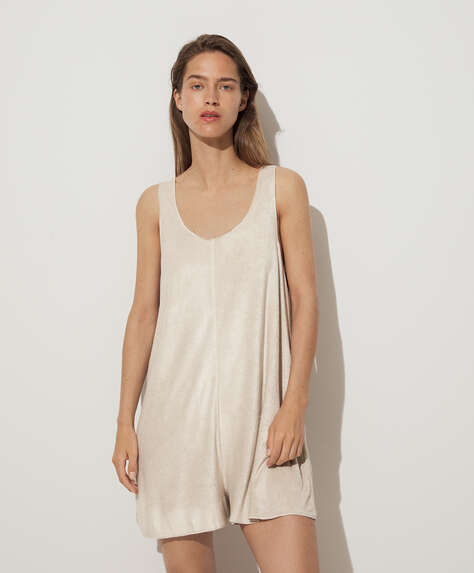 Towelling strappy short jumpsuit