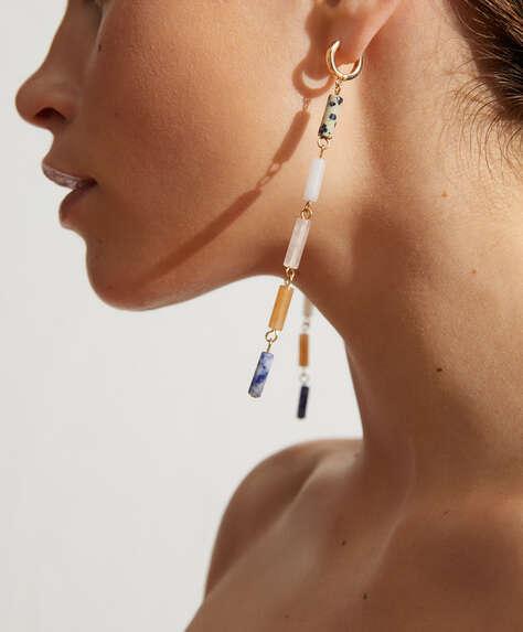 Gemstone dangle hoop earrings