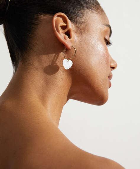 Heart dangle hoop earrings