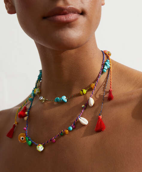 Cord and multicolour bead necklace