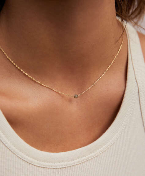 18k gold plated chain and stone necklace