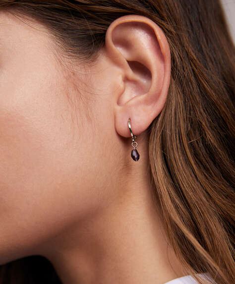 18k gold plated hoop earrings with stone dangle