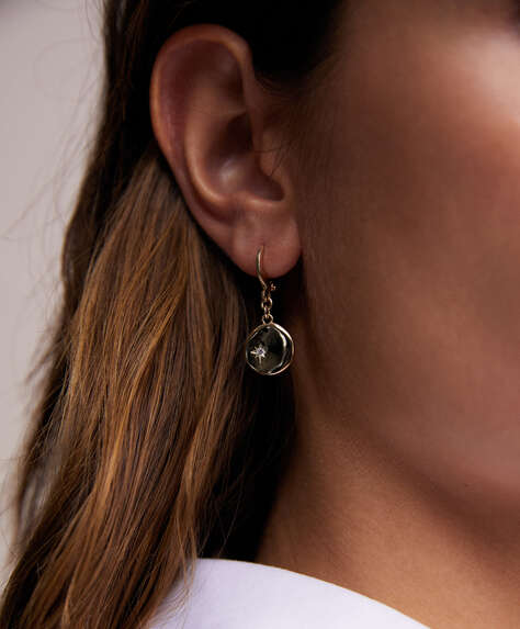 18k gold plated hoop earrings with medallion dangle