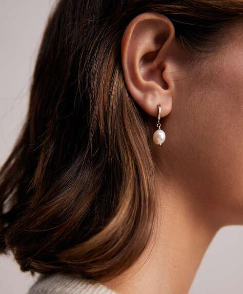18k gold plated pearl dangle hoop earrings