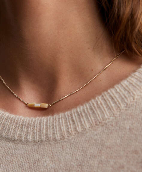 18k gold plated necklace with natural stone pendant