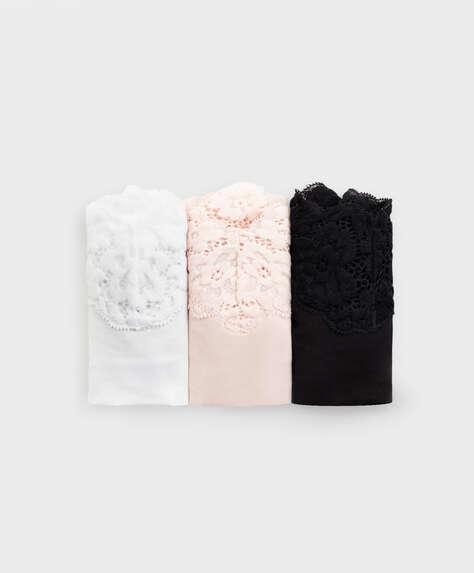 3 lace Brazilian briefs