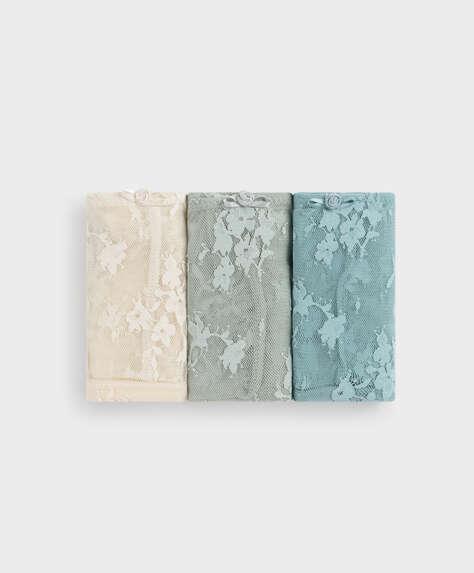 3 comfort lace Brazilian briefs