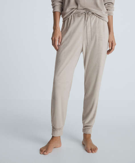 Soft touch velour cuffed trousers