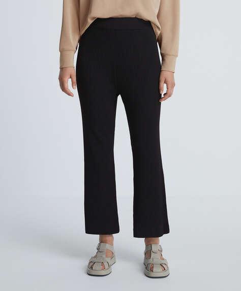 Rib knit flare trousers