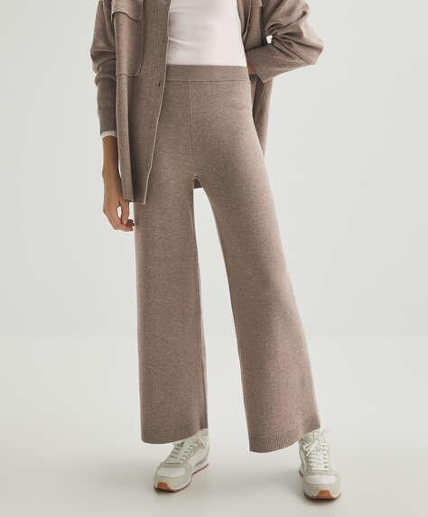 Μακρύ πλεκτό φαρδύ παντελόνι