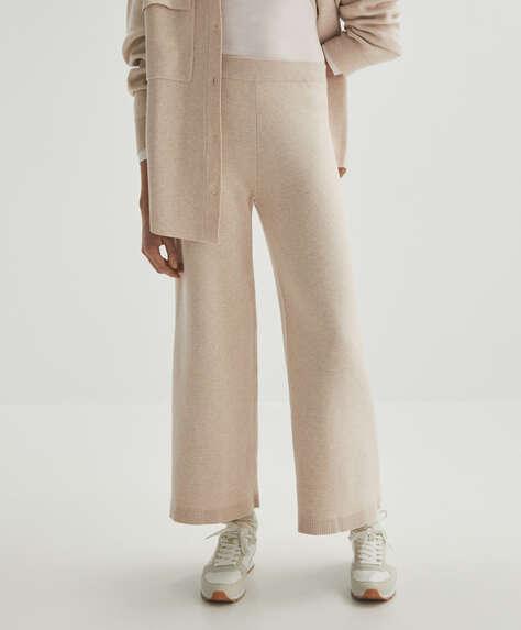 Wide-leg knit trousers