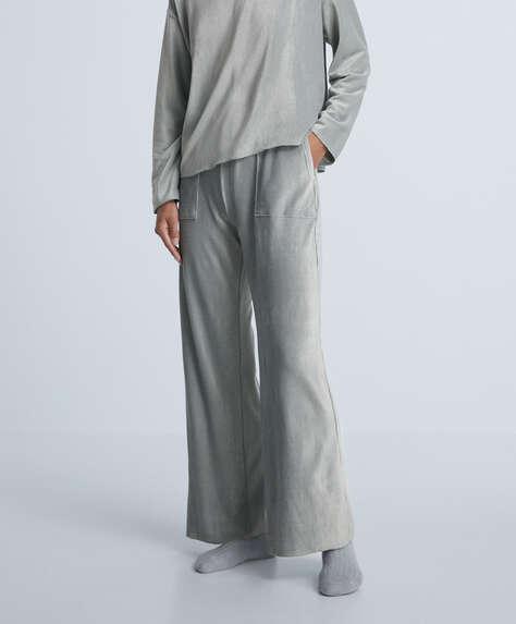 Rib velour trousers