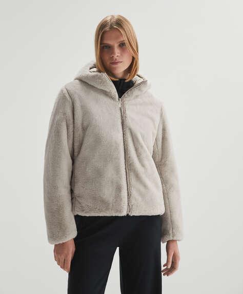 Fur-effect reversible jacket
