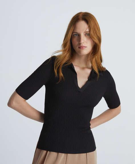Сорочка-поло на короткий рукав з трикотажу rib