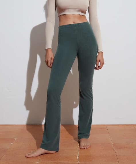 Calças estilo leggings flare em algodão