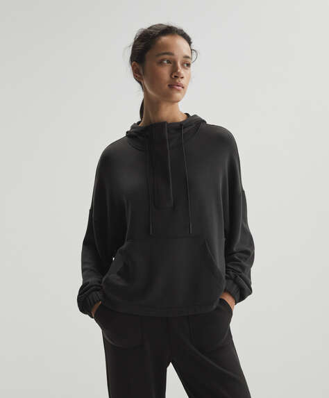 Soft touch modal sweatshirt with zip