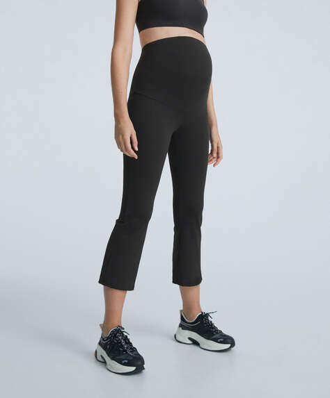 Crop flare maternity trousers
