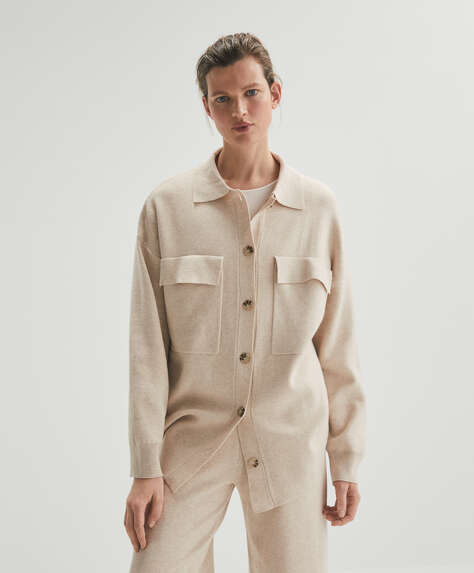 Knit overshirt with pockets