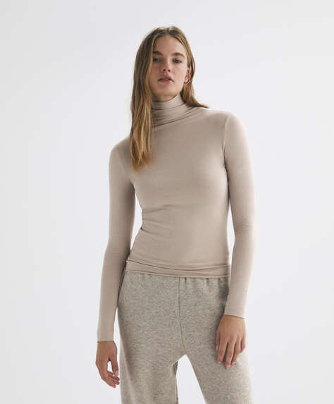 Long-sleeved modal and cotton T-shirt