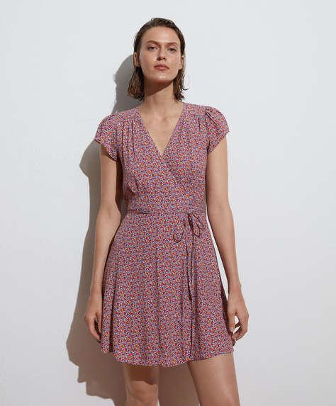 Multi-floral short-sleeved wrap dress