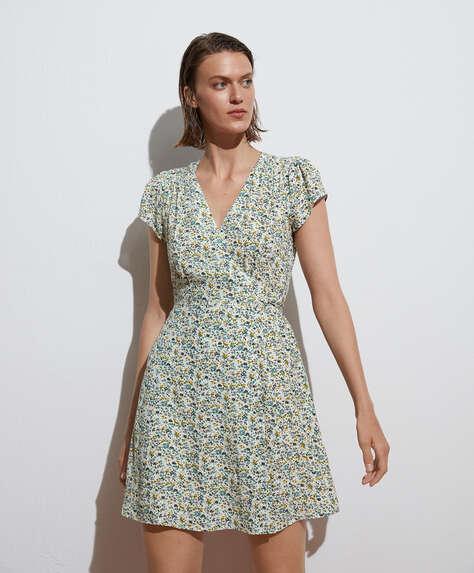 Ditsy floral short-sleeved mini dress