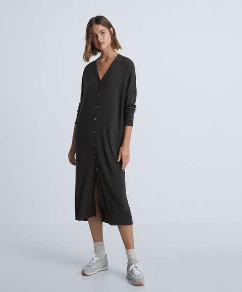 Long buttoned knit dress