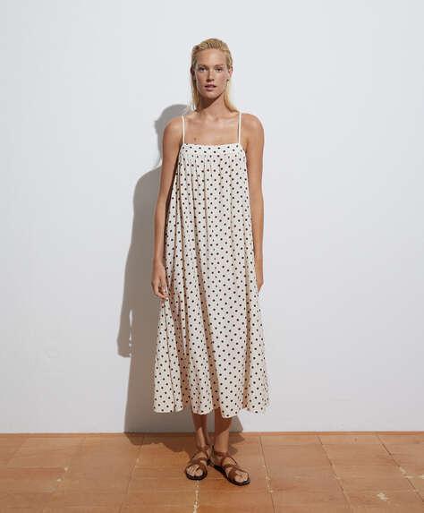 Lange jurk van katoen met stippen