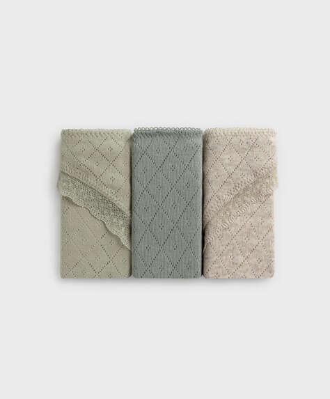 3 braguitas brasileñas algodón desagujado