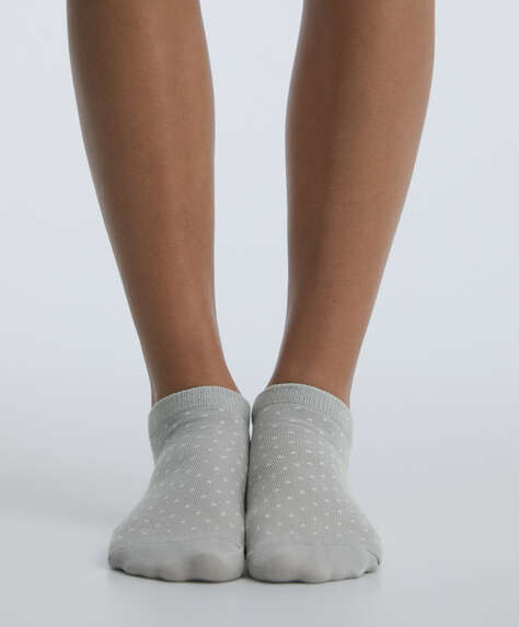 5 pairs of cotton polka dot ankle socks