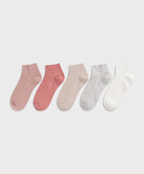 5 pairs of textured knitted pattern cotton ankle socks