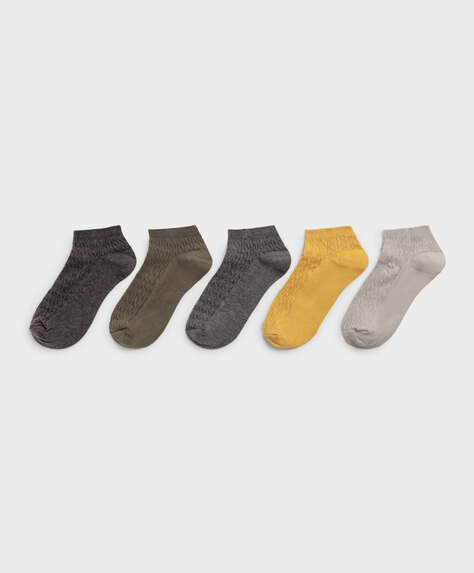 5 pairs of textured cotton ankle socks