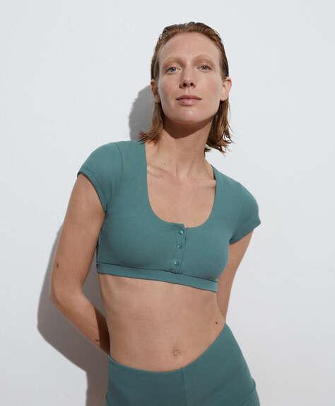 Textured short-sleeved top