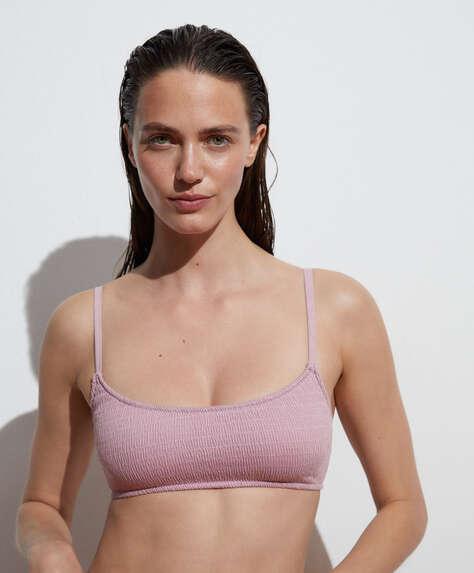 Bikinitop van katoen met smock