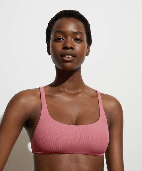 Recycled piqué bikini top