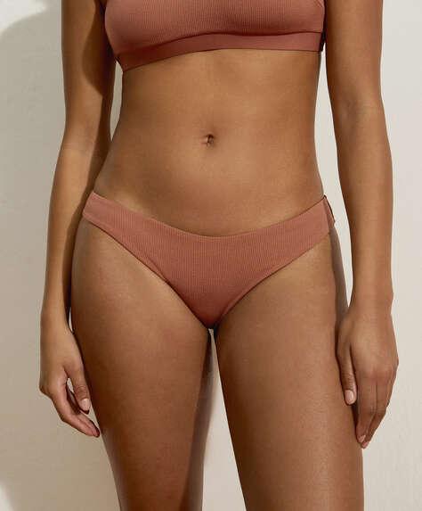 Slim fit brazilian bikinibroekje van ribstof met U-vorm